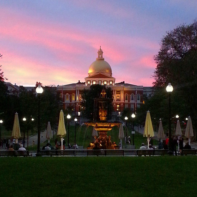 Crazy sky above #BostonCommons and the #StateHouse.