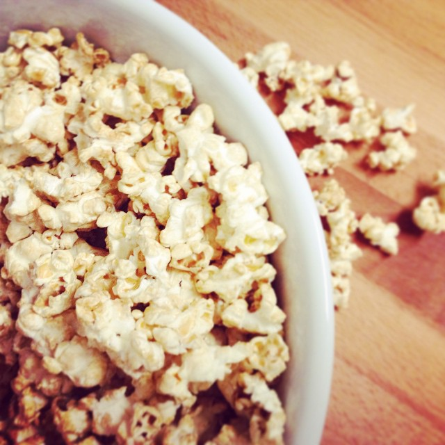 Homemade salted caramel popcorn... Great snack or greatest snack? #delish #saltysweet #inthekitchen