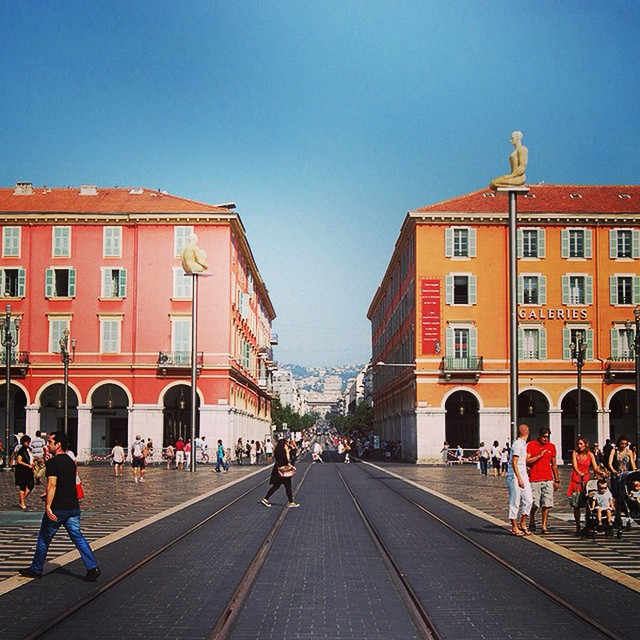 City street symmetry. #cotedazur #tracks #colorful