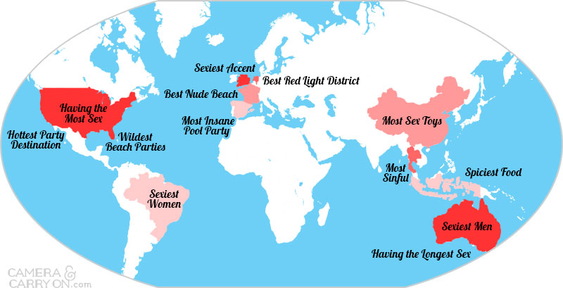 Worldwide nudist map