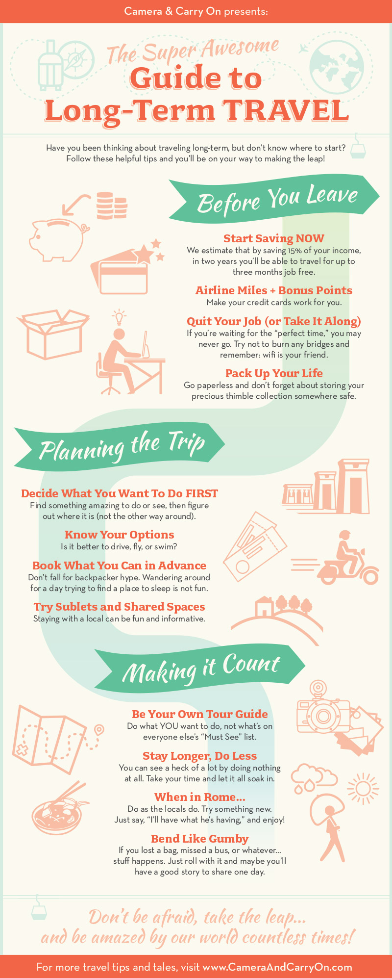 Super Awesome Guide to Long Term Travel — Our easy to follow infographic on how to make the dream of long term travel a reality, with tips for before, planning, and making it count! #infographic #travel #guide #longterm #tip #resource – small infographic | CameraAndCarryOn.com
